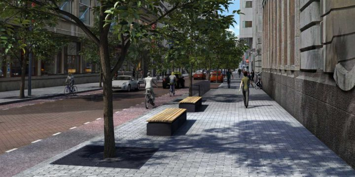 Aert van Nesstraat in Rotterdam with trees, new pavement and new street furniture