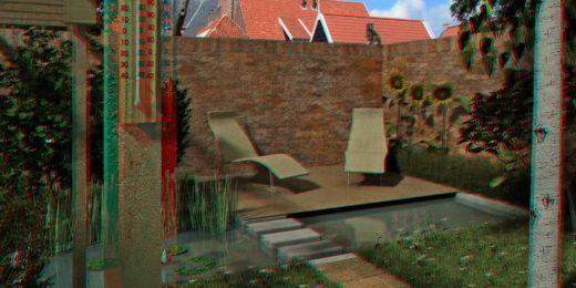 Stereobeeld van een ommuurde stadstuin met een vijver, gras, een berkenboom en een klein terrasje; om het effect te zien is een rood-blauwe 3d-bril nodig