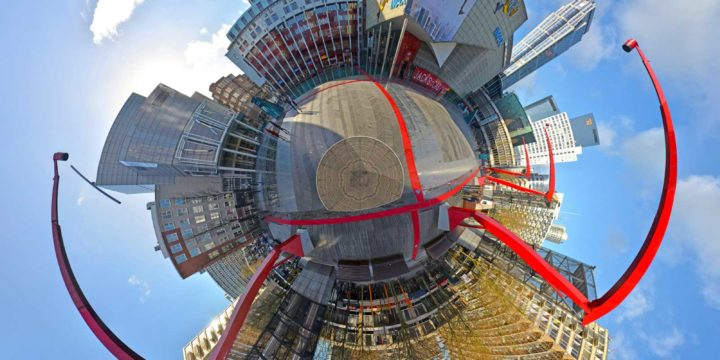 Spherical panorama of the Schouwburgplein in Rotterdam, designed by West8 and built with steel, wood and rubber, surrounded by the Theatre, the Pathe Cinema and De Doelen concert hall
