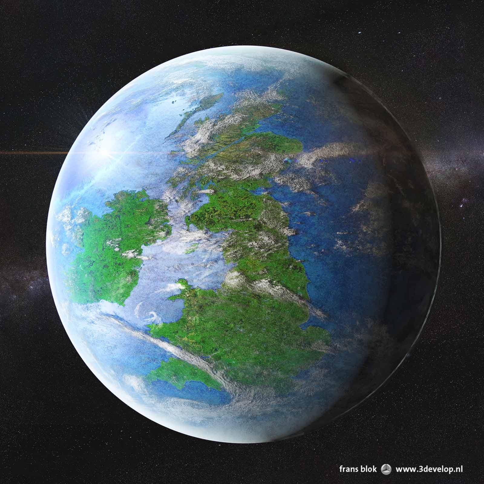 Groot-Brittannië en Ierland weergegeven als twee eilanden op hun eigen planeet