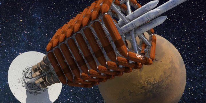 Ares, the spaceship from Kim Stanley Robinson's Red Mars, with the red Planet in the star spangled background