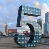 Virtual statue on Noordereiland, celebrating Rotterdam Toastmasters' fifth anniversary