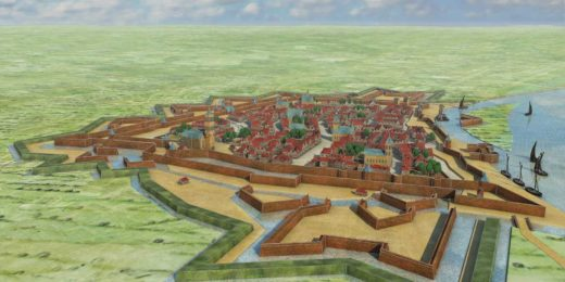 The fortifications and city of of Venlo in the 17th century, based on the map in the atlas by Joan Blaeu