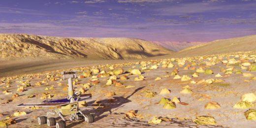 Hebes Chasma op Mars, in een vroege fase van de terraforming, gerenderd in Terragen, met NASA's onvermoeibare Mars-rover Opportunity