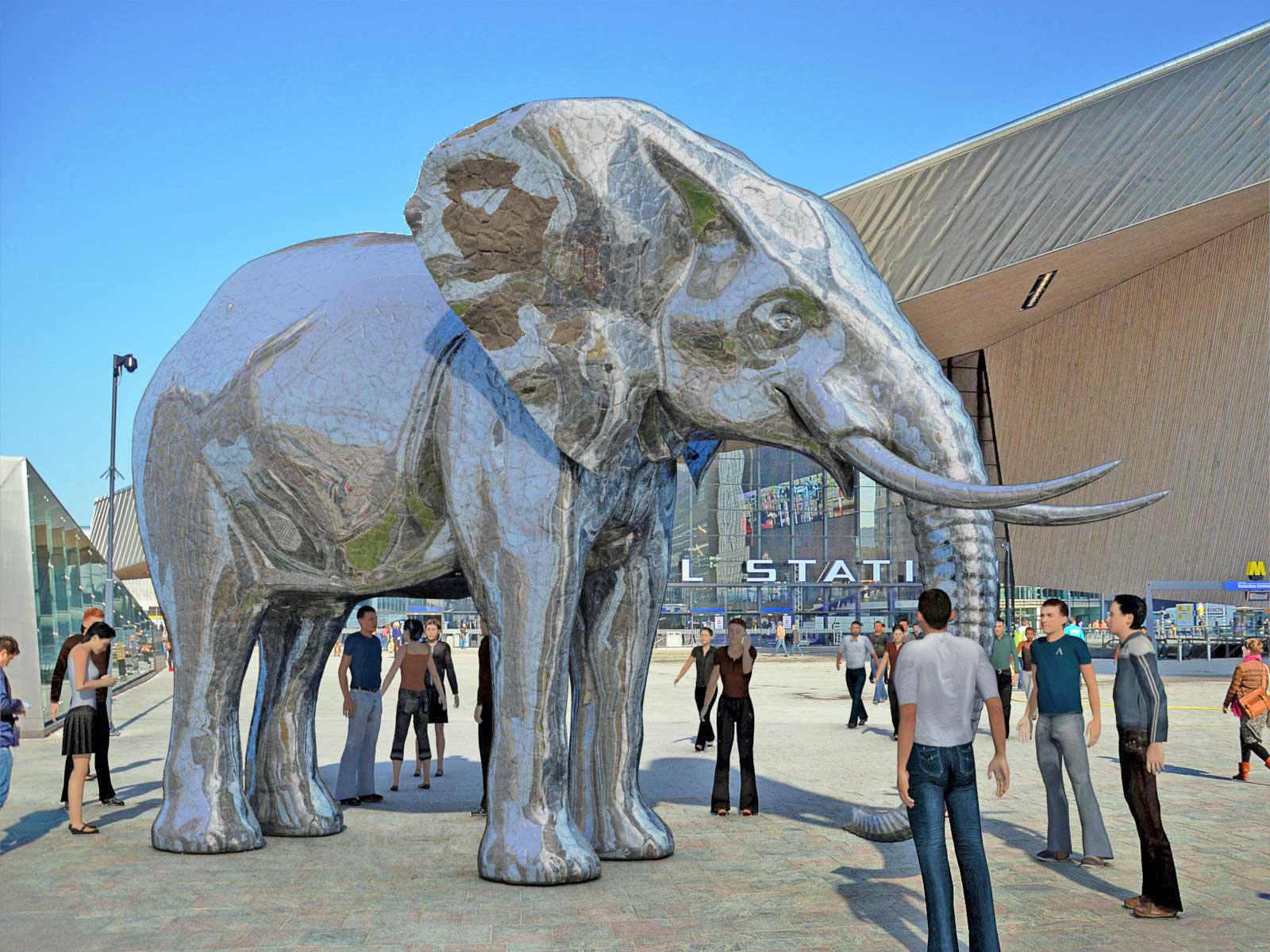 Silver Elephant in front of Rotterdam central station.