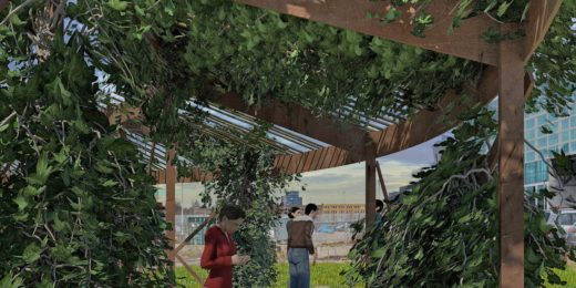 Visualisation of a proposed pergola on Lloydpier in Rotterdam overgrown with lush digital ivy
