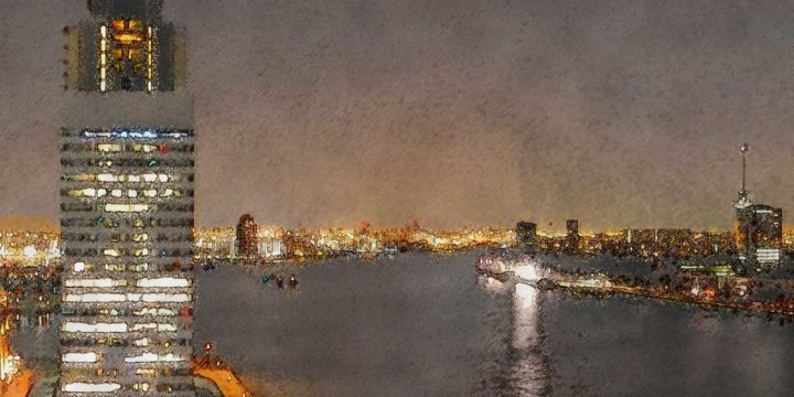 Fragment of a paintified photo taken at night at the 14th floor of De Rotterdam with both banks of the river Nieuwe Maas