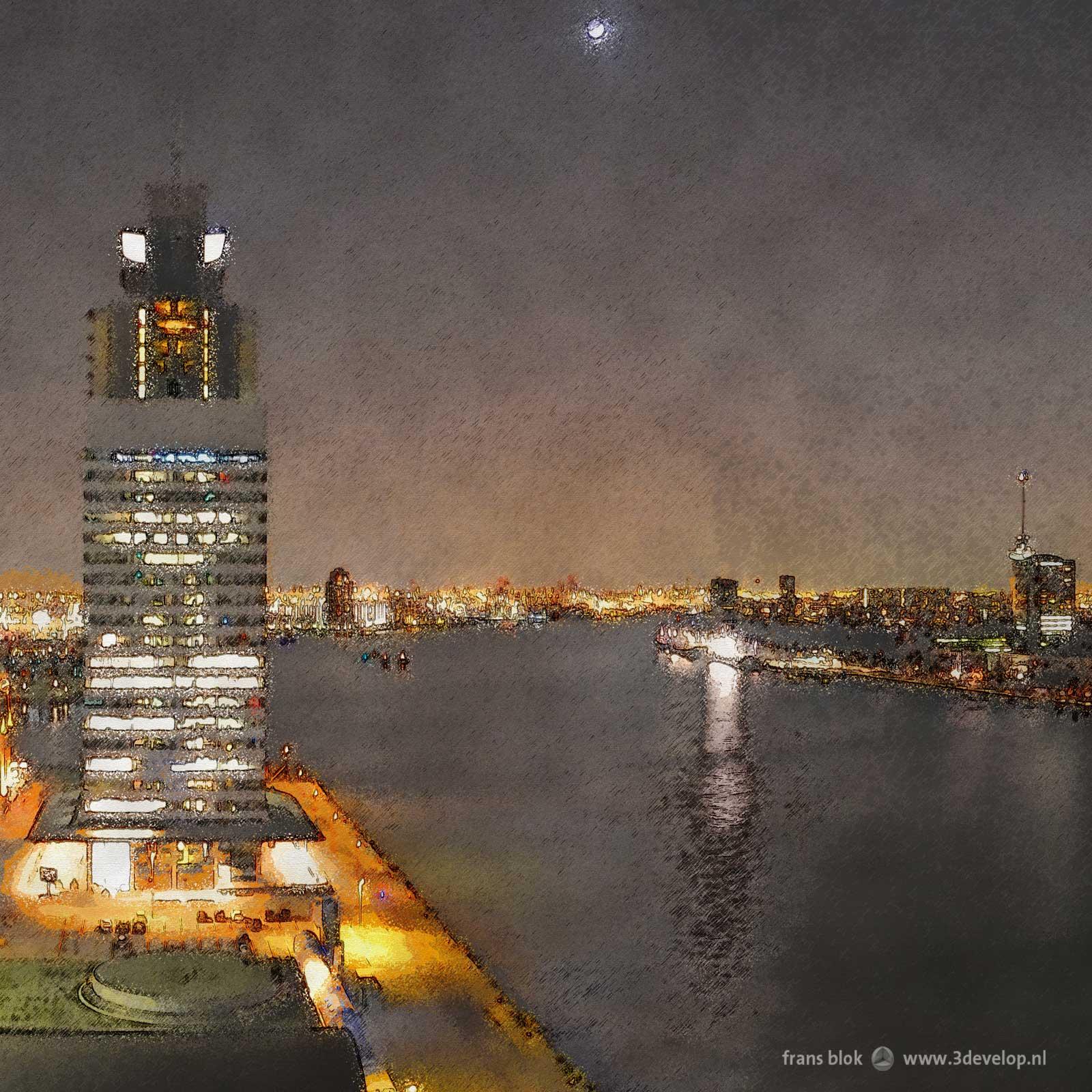Fragment van een verschilderde foto gemaakt op de veertiende verdieping van de Rotterdam met de Rijnhaven, Katendrecht, Wilhelminapier, Nieuwe Maas and Scheepvaartkwartier