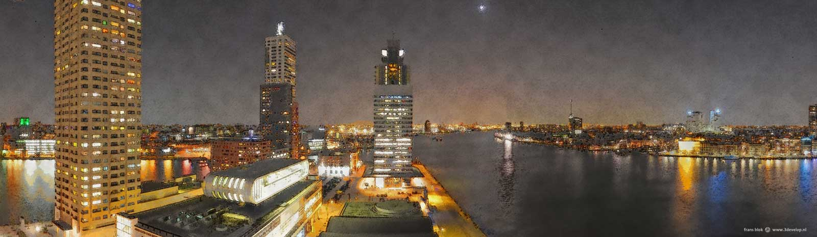 Verschilderde foto gemaakt op de veertiende verdieping van de Rotterdam met de Rijnhaven, Katendrecht, Wilhelminapier, Nieuwe Maas and Scheepvaartkwartier