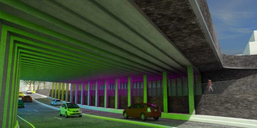 Artist impression of the Marstunnel in Zutphen, The Netherlands, as seen from the city side, with dark brick walls and light art by Herman Kuyer