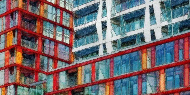 Verschilderde detailfoto van het Calypso-gebouw in Rotterdam door William Alsop, gezien vanaf de Westersingel