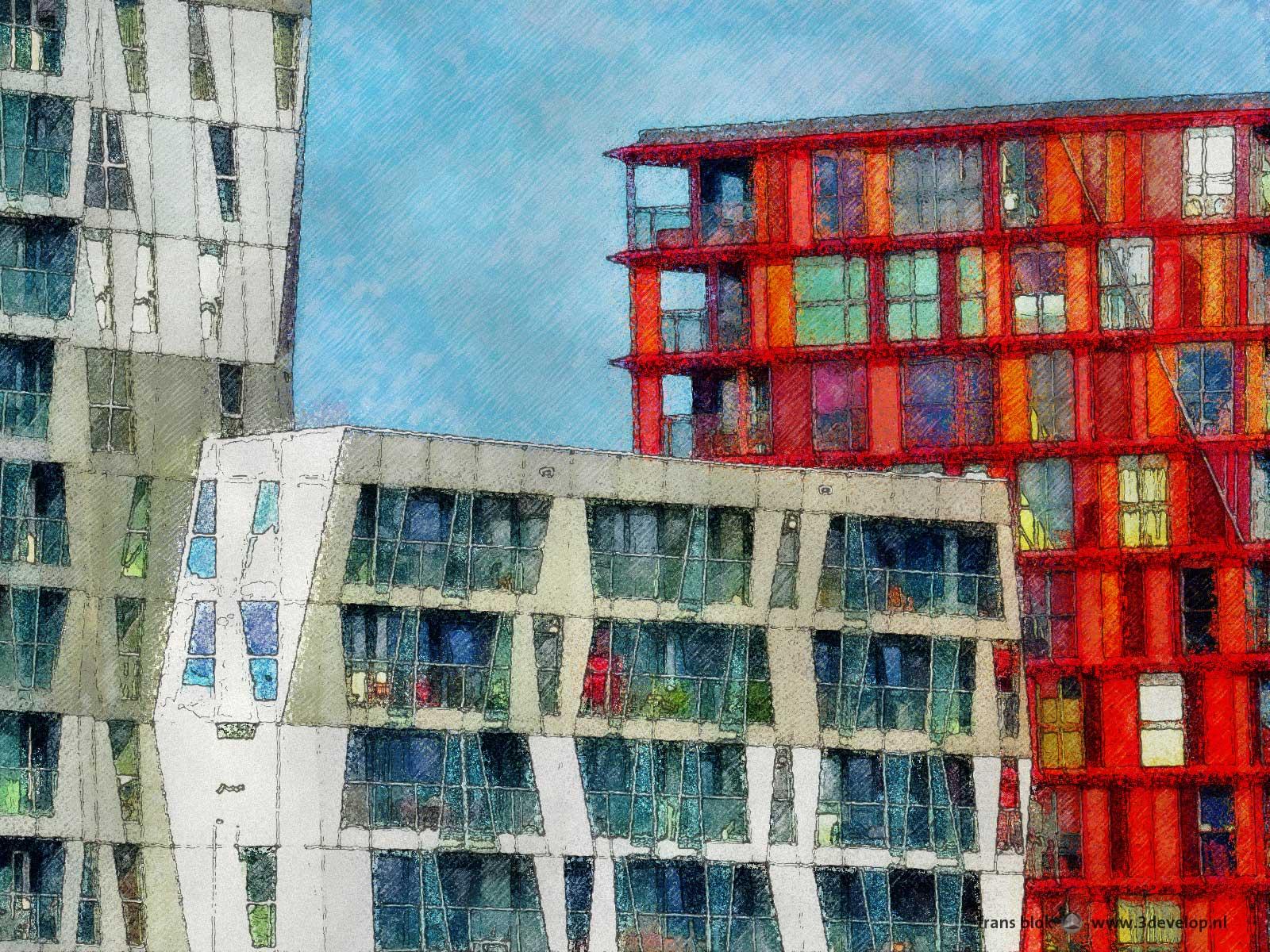 Verschilderde detailfoto van het Calypso-gebouw in Rotterdam door William Alsop, gezien vanaf het Schouwburgplein