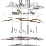 infographic of the design for Meerrijk, Eindhoven, The Netherlands, showing the stacked layers of buildings, vegetation, public space, stairs and elevators, construction and parking