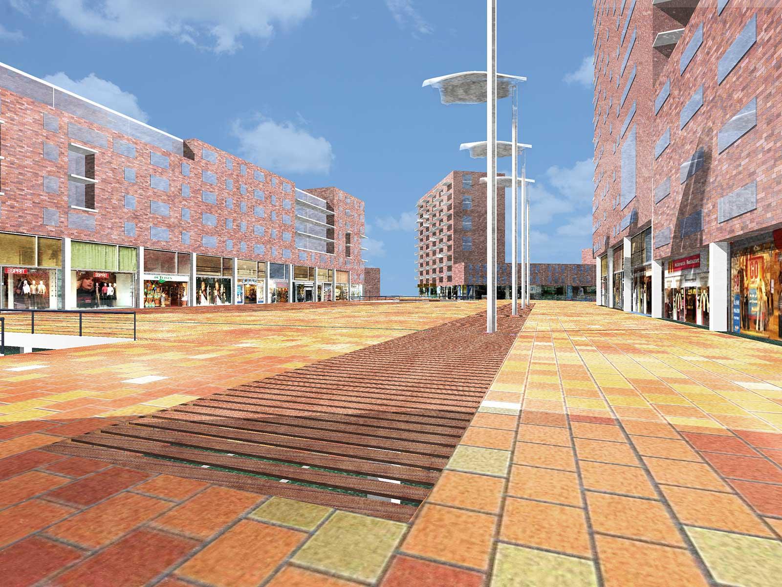 artist impression uir de ontwerpfase van het centrale plein in Meerrijk, Eindhoven