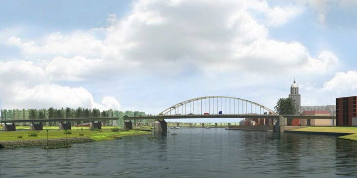 View of the future breakwater islands in the IJssel river near Deventer, part of the Room for the River project