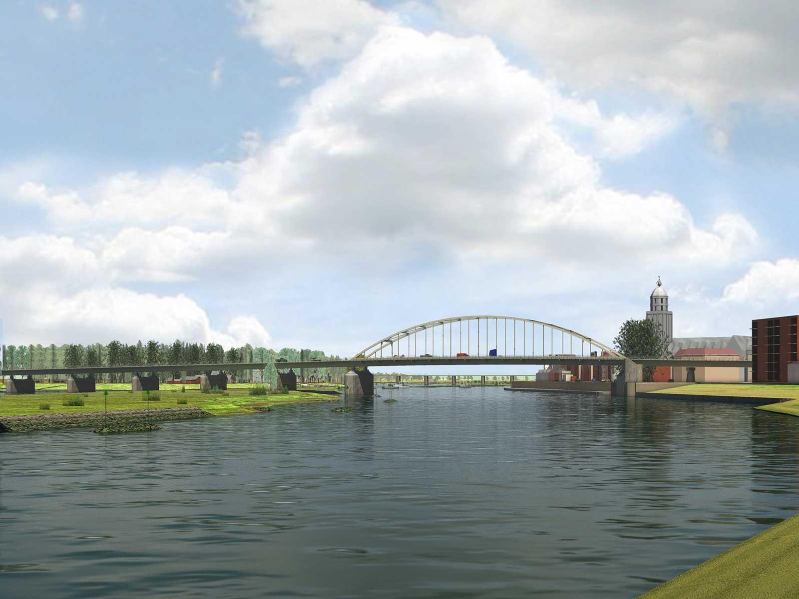 visualisatie van de toekomstige eilandkribben in de IJssel bij Deventer, aangelegd als onderdeel van het Ruimte voor de Rivier-project