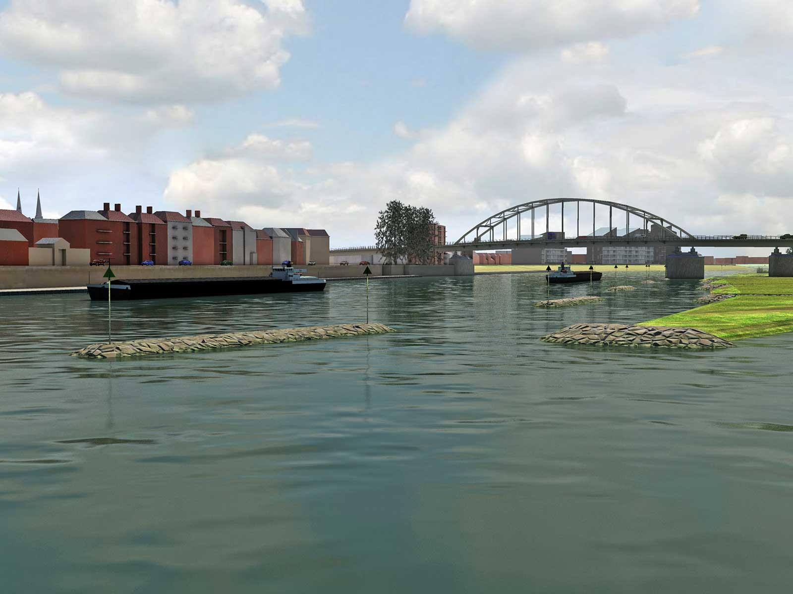 Artist impression van de toekomstige eilandkribben in de IJssel bij Deventer, onderdeel van het Ruimte voor de Rivier-project, gezien vanaf de nieuwe veersteiger