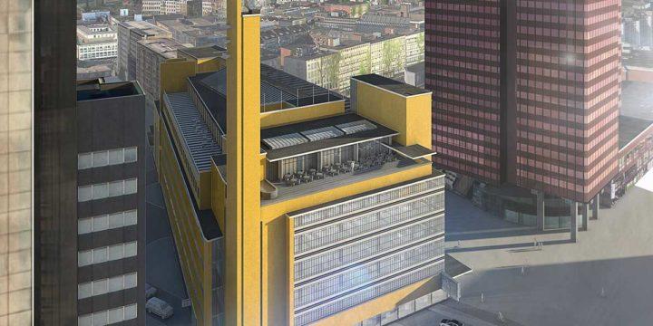 De verdwenen oude Bijenkorf van architect Dudok in Rotterdam, gezien vanuit de Schielandtoren en omgeven door hedendaagse hoogbouw