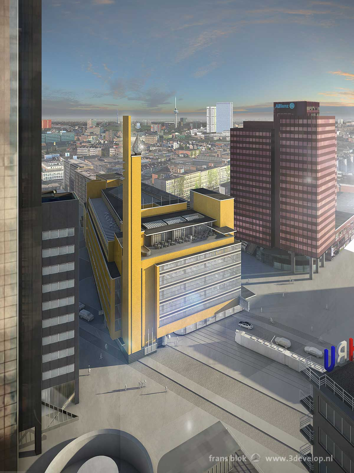 De verdwenen oude Bijenkorf van architect Dudok in Rotterdam op zijn oorspronkelijke locatie op Coolsingel,Westblaak en Churchillplein, gezien vanuit de Schielandtoren en omgeven door hedendaagse hoogbouw