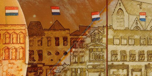 Images of Gouda cheese combined with sketches of houses and town hall at Gouda's market square, as part of a proposal for a Welcome Wall near the railway station