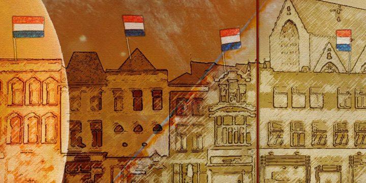 Foto's van Goudse kaas gecombineerd met schetsen van huizen en stadhuis op de Markt in Gouda als onderdeel van een voorstel voor een Welkomstmuur bij het station
