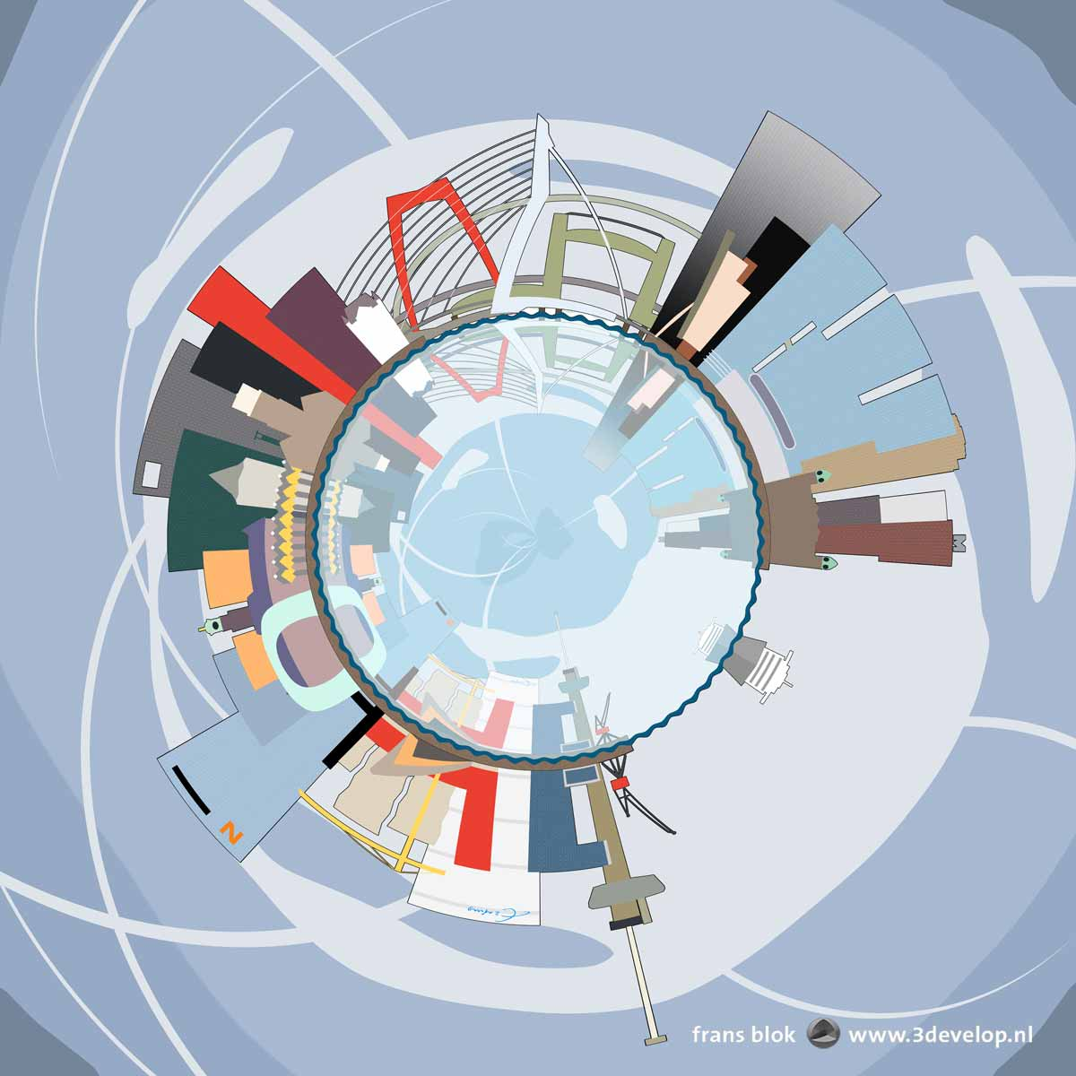 Graphical representation of the colorful Rotterdam skyline as a spherical panorama, with four bridges and iconic buildings like the Central Station, the Market Hall, the Euromast and the Rotterdam building,reflecting in the river Nieuwe Maas