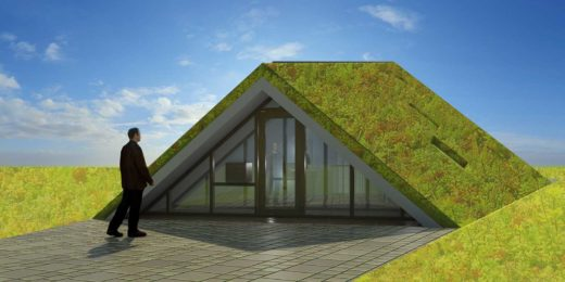 Front facade of the Green Pyramid, a radically sustainable house in Borne, The Netherlands: a modest entry to a surprisingly generous space