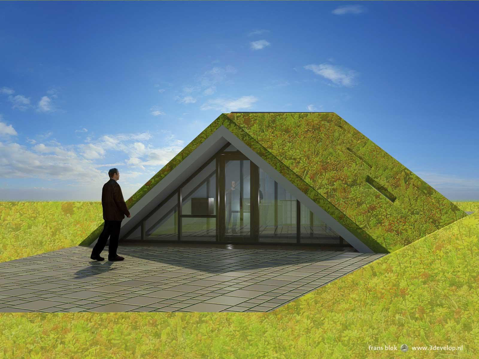 Vooraanzicht van de Groene Piramide in Borne, een radicaal duurzame woning: een bescheiden entree waarachter een verrassend grote woning schuilgaat
