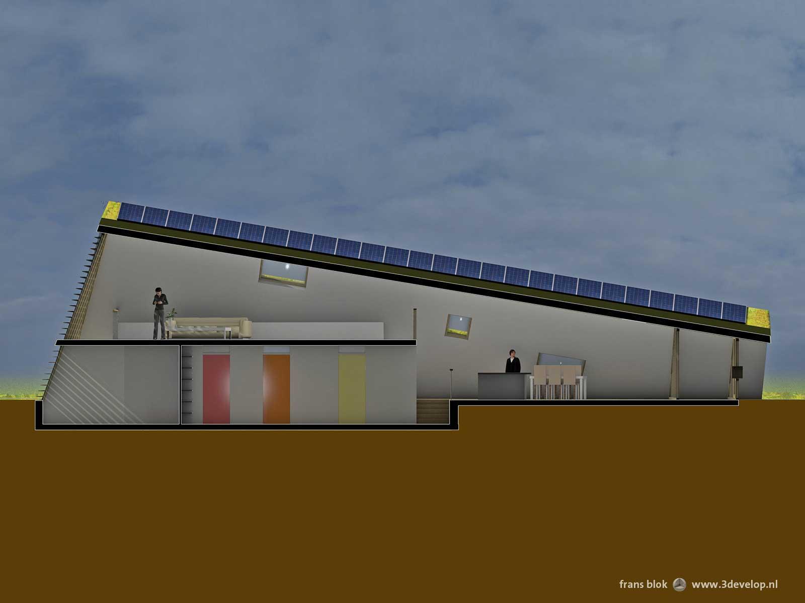 Langsdoorsnede van de Groene Piramide in Borne, een radicaal duurzame woning, met een halfondergrondse slaapverdieping en met keuken en woonkamer onder het hellende groene dak