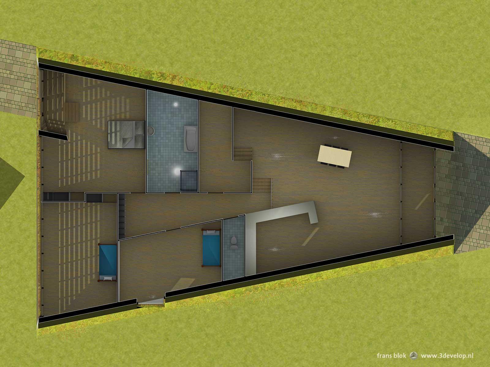 Opengewerkt bovenaanzicht van de Groene Piramide in Borne, een radicaal duurzame woning, met zicht op keuken, slaapkamers en sanitair