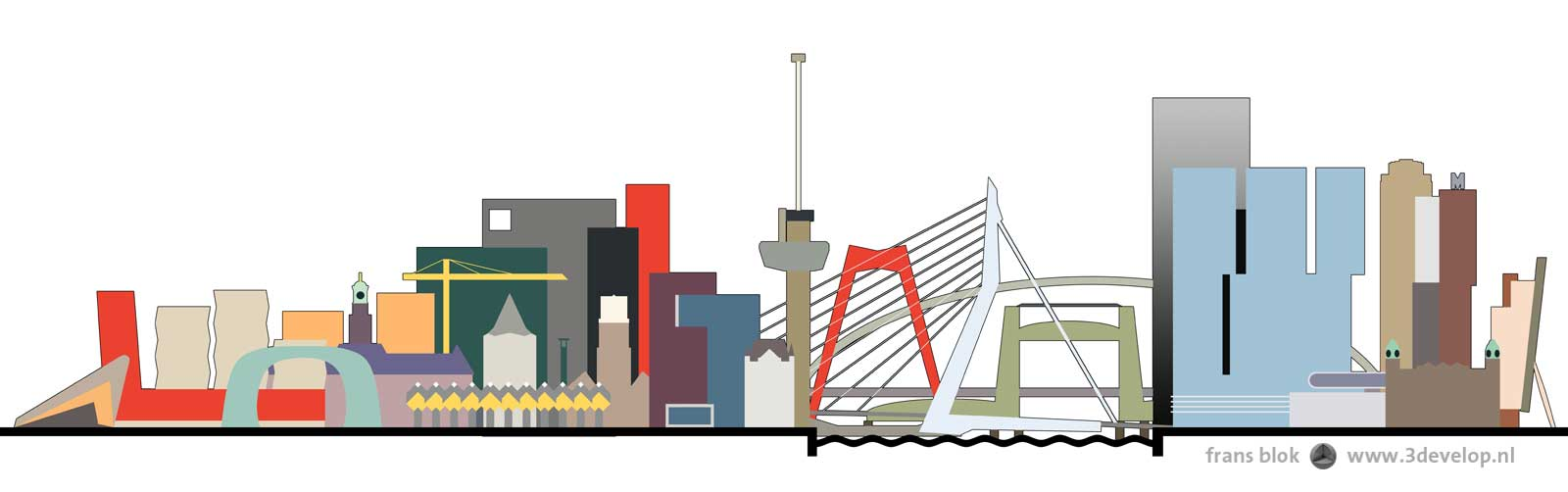 Graphical representation of the colorful skyline of Rotterdam, with four bridges and landmarks like the Central Station, Market Hall, Euromast and De Rotterdam