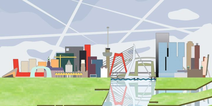 Graphical representation of the colorful skyline of Rotterdam, extended with sky, river Nieuwe Maas and port