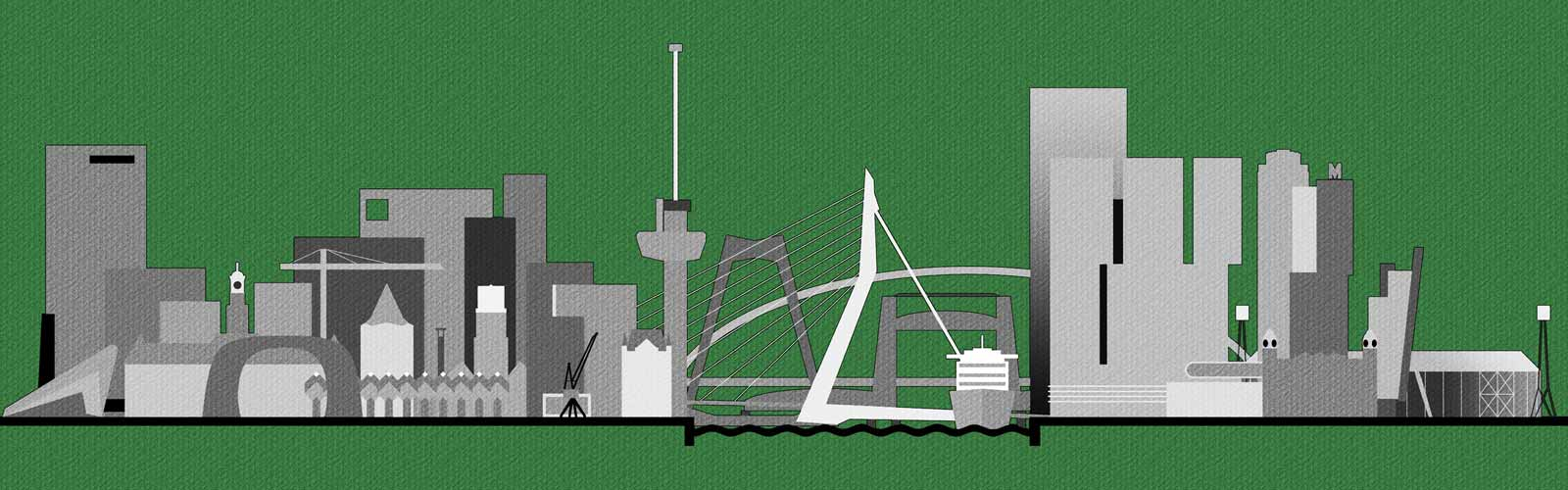 Grafische weergave van de skyline van Rotterdam met de belangrijkste gebouwen, bruggen en andere iconen, geprint op een groen t-shirt
