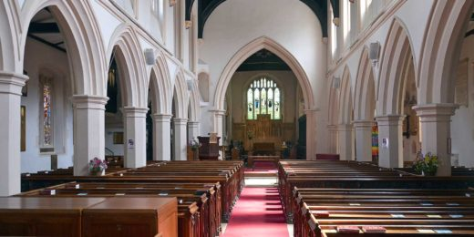 Phto of the interior of St.Mary's Church in Watford in the current situation with pews and carpet