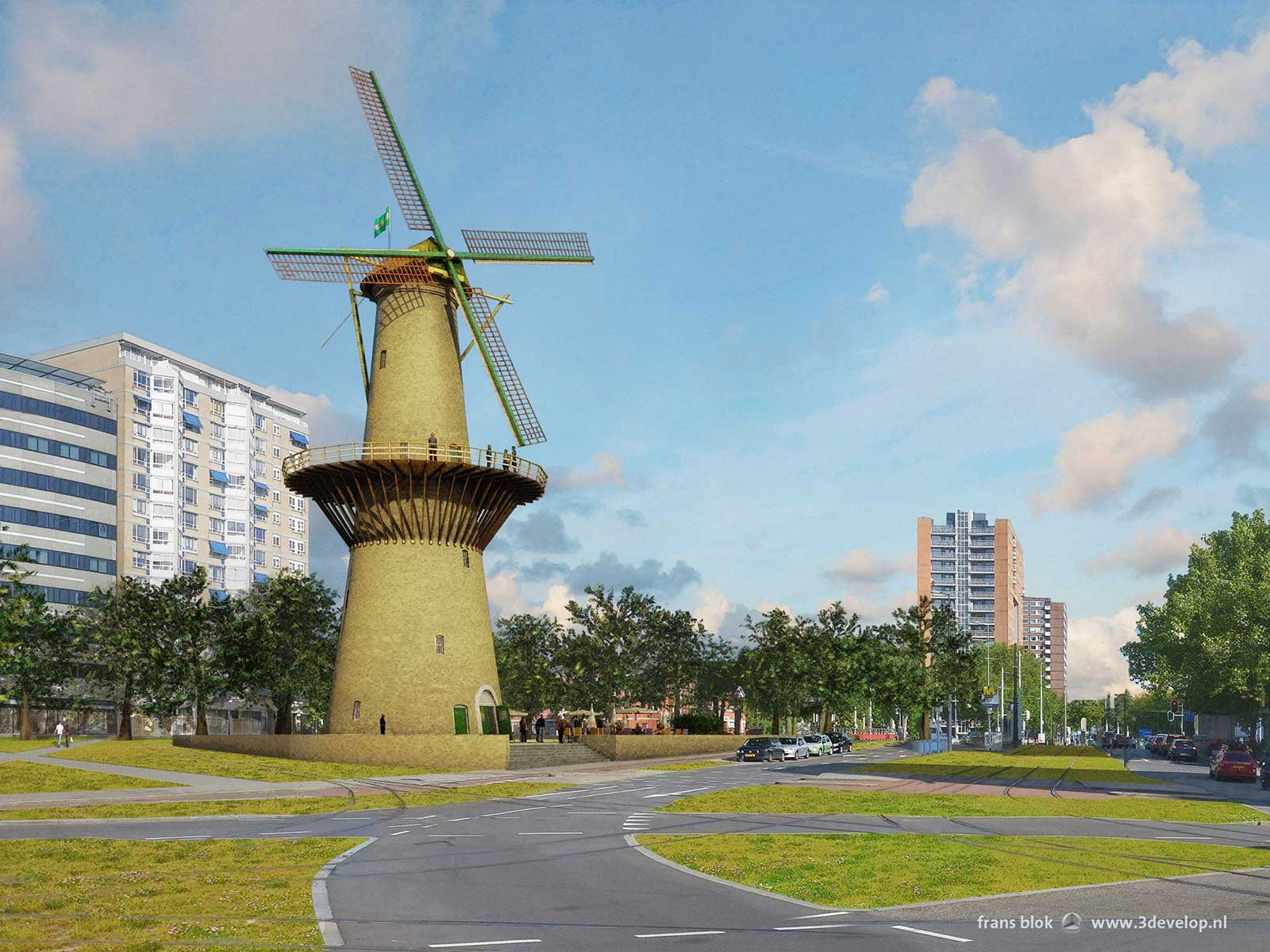 Windmill De Noord, reconstructed on the Oostplein in Rotterdam