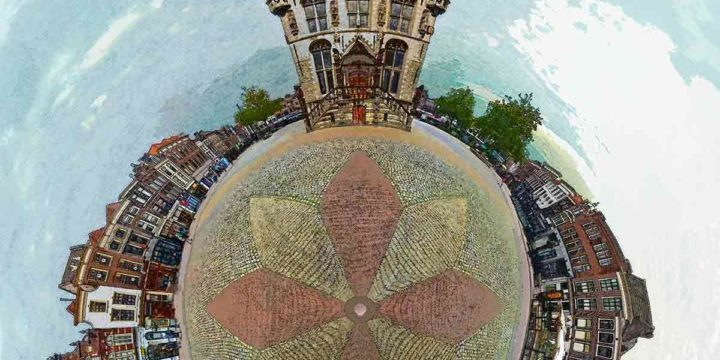 Spherical panorama, composed from 24 photographs, stitched together and mapped to a sphere in Photoshop, of the market square and town hall in Gouda, the Netherlands