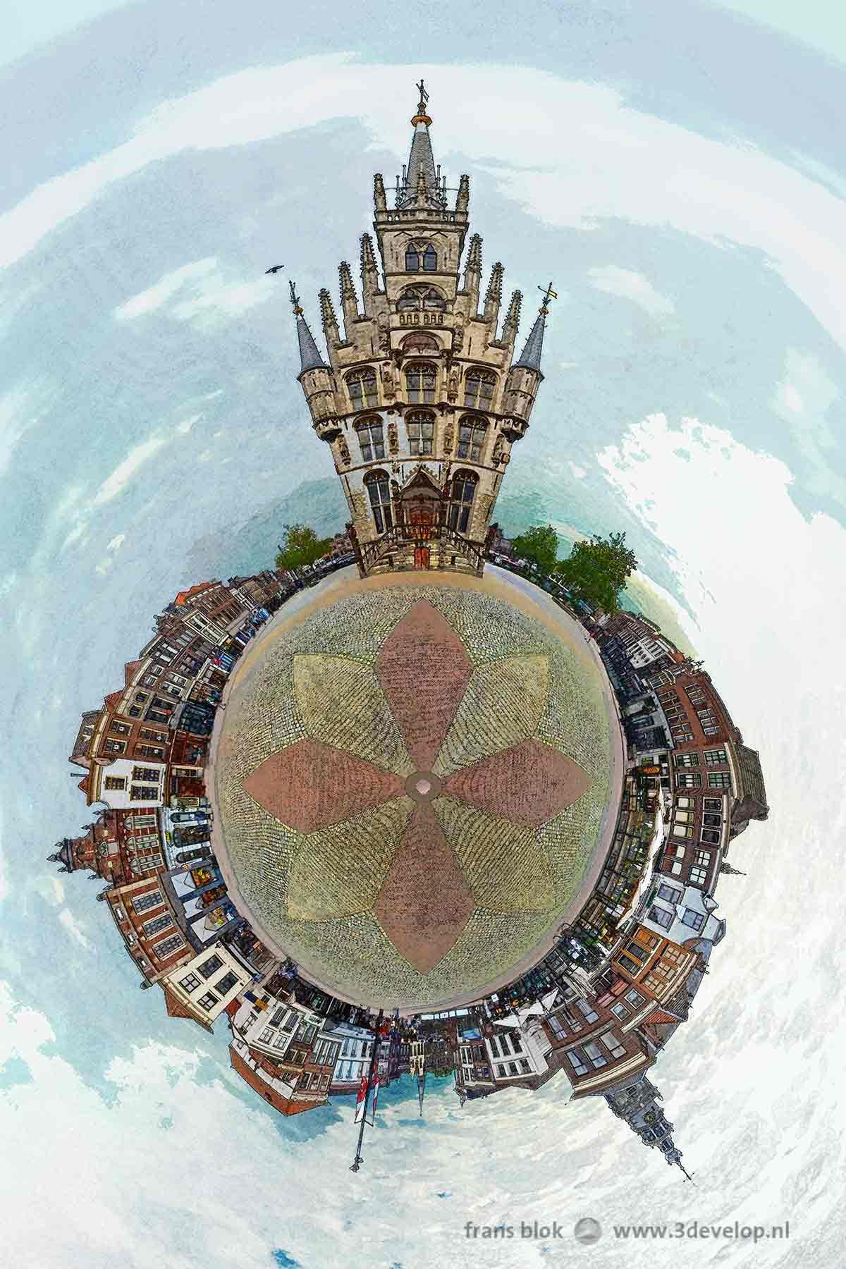 Bolvorming panorama, gemaakt van 24 foto's, aan elkaar geplakt en tot een bol vervormd in Photoshop, van de Markt en het stadhuis in Gouda