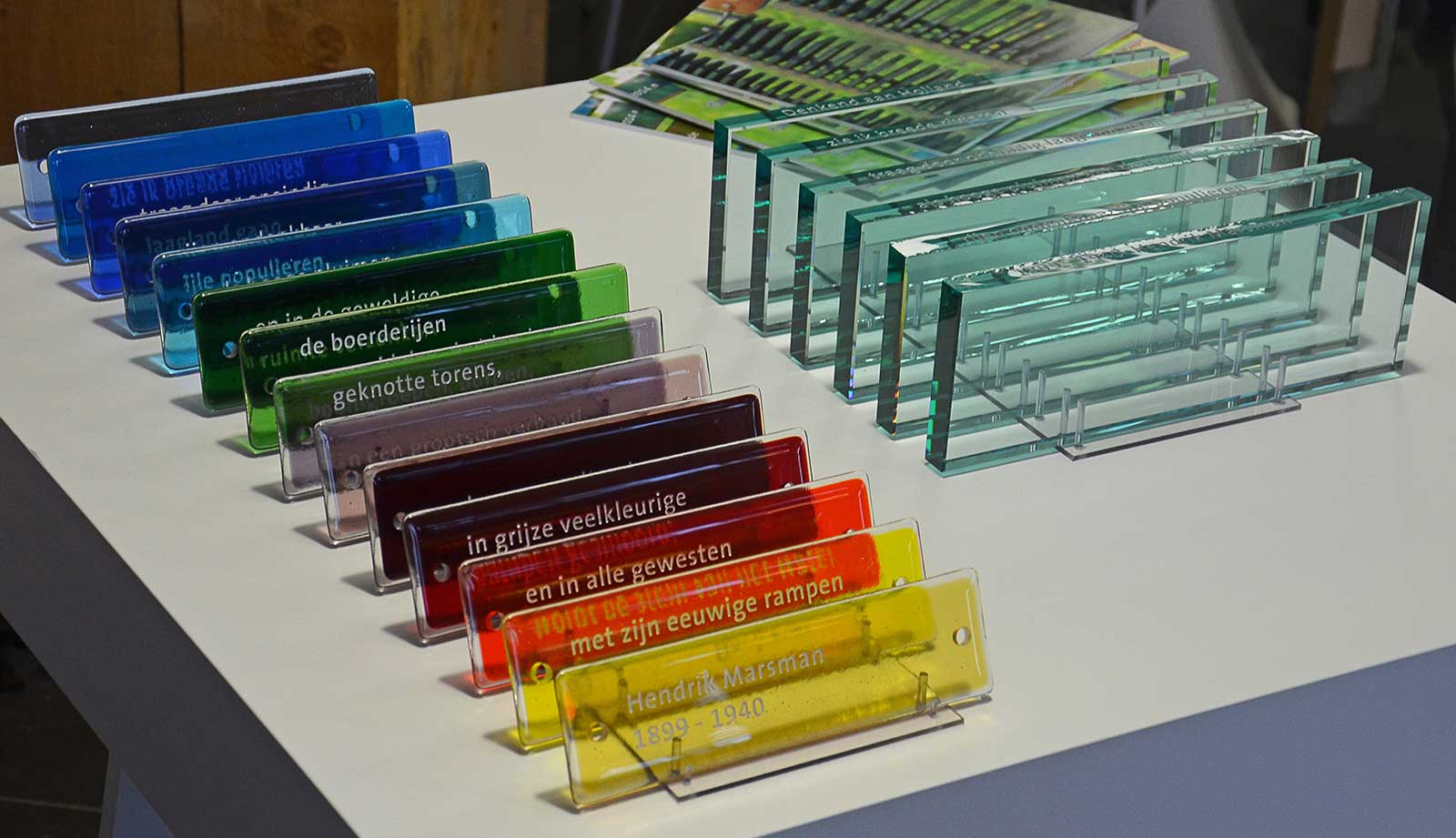 Glass samples used in monuments designed by Dirry de Bruin