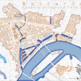 Dubbelplattegrond Rotterdam: twee kaarten van straten, havens en bouwblokken 1939 / 2014 over elkaar gelegd