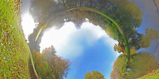 Tubular panorama of The Park, Rotterdam, made on a sunny day in autumn, featuring two Nilegeese and the Euromast