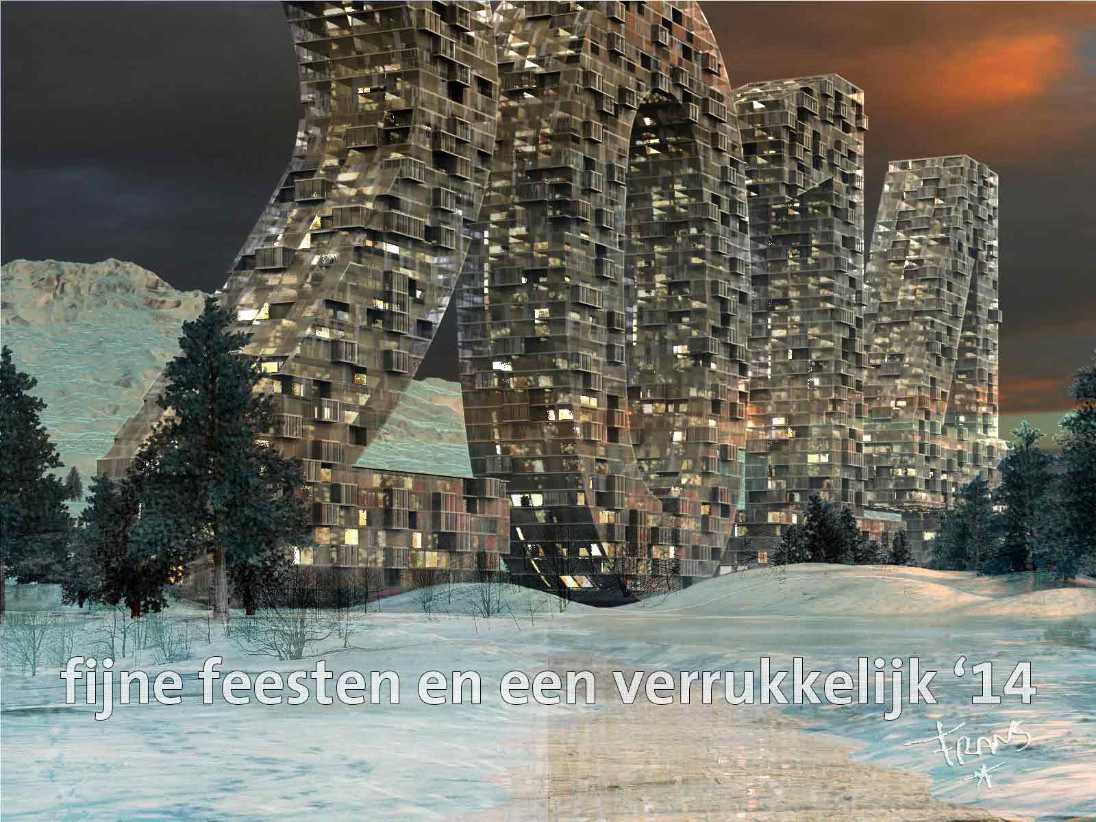 Furutistische kerstkaart met torens in de vorm van het jaartal 2014 in een besneeuwd landschap