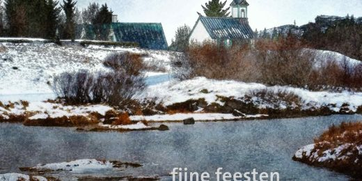 Christmas card with a painterlike image of a little church in the snowy landscape of Thingvellir National Park in Iceland