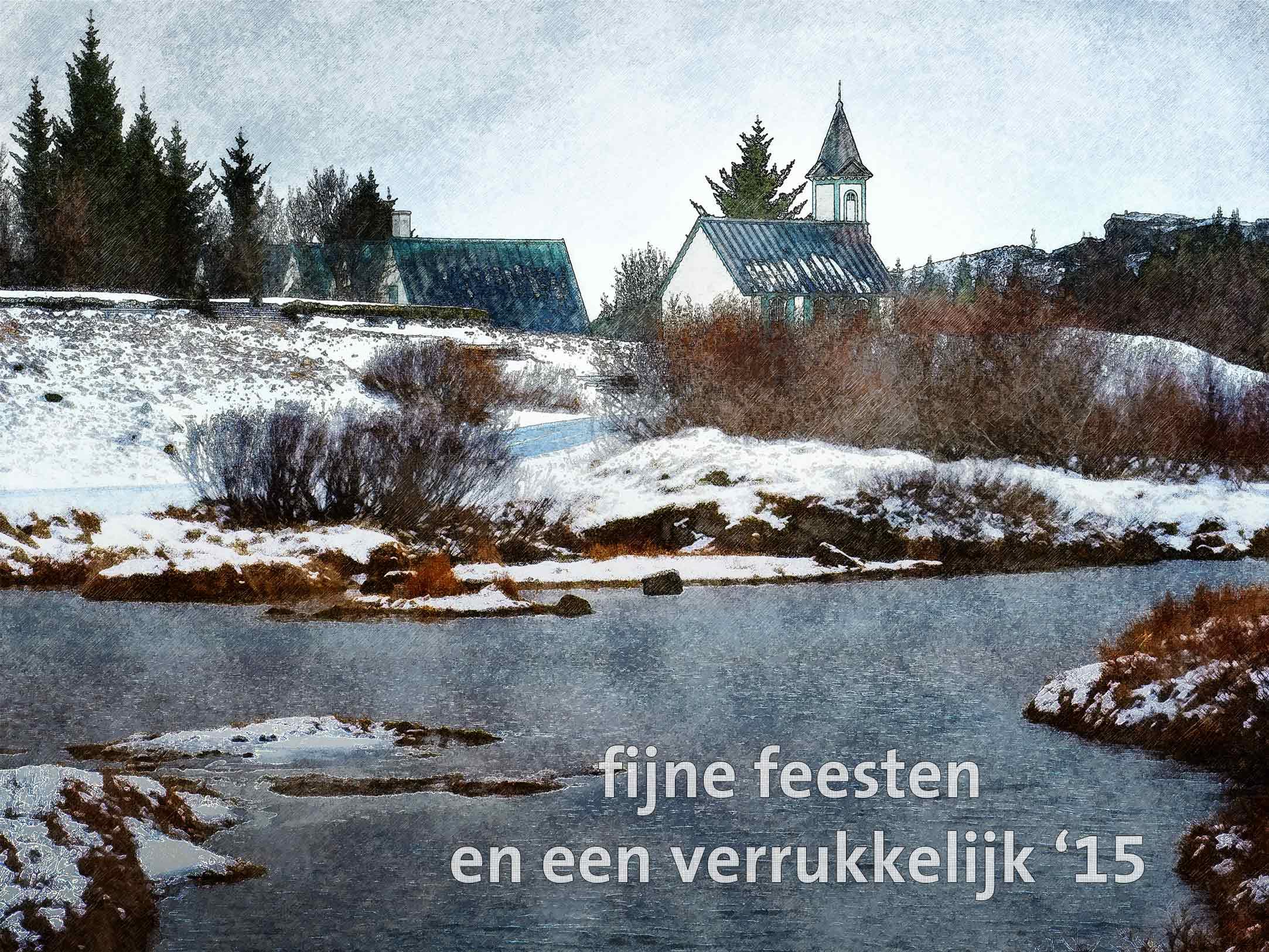 Kerstkaart met schilderachtig beeld van een kerkje in het winterlandschap in nationaal park Thingvellir in IJsland