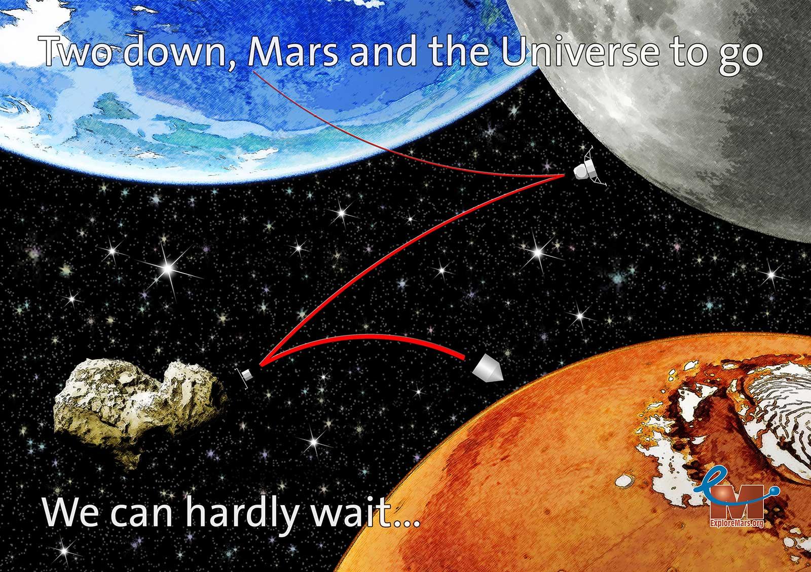 Kerstkaart voor Explore Mars, Inc. met Aarde, Maan, komeet en Mars en ruimtesondes die deze hemellichamen bezoeken en de tekst two down, Mars and the Universe to go
