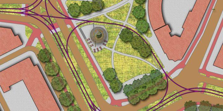 Plattegrond van toekomstig Oostplein, met herbouw van molen De Noord en vergroening van de openbare ruimte