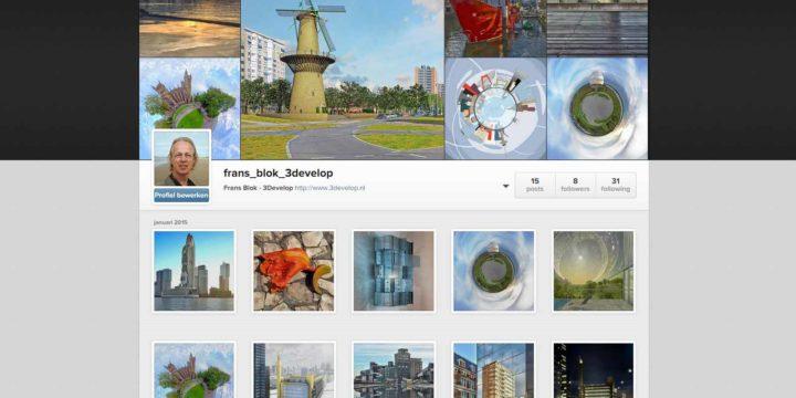 Instagram-profiel van Frans Blok - 3Develop enkele dagen na het aanmaken, begin 2015
