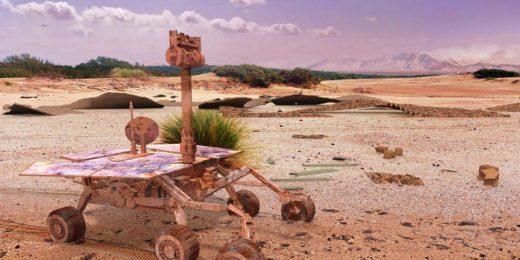 De onvermoeibare Mars-rover Opportunity rijdt na tweehonderd jaar nog steeds rond op de, inmiddels geterraformeerde, planeet