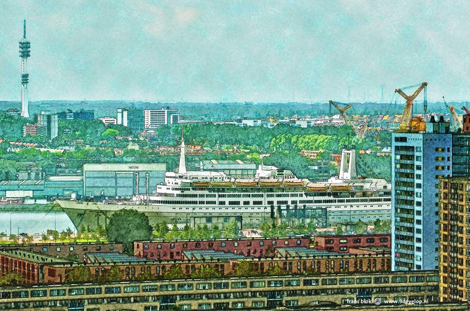 Fragment van een verschilderd beeld van het voormalig cruiseschip SS Rotterdam met de wijk Katendrecht op de voorgrond en de industrie van de Waalhaven op de achtergrond