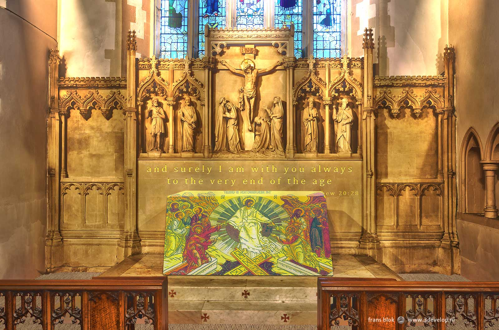 Watford St.Mary's church - reredos depicting the crucifiction