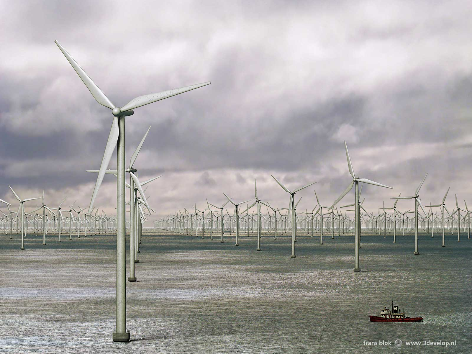 3000 wind turbines on the North Sea